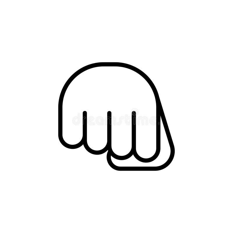Icono del esquema del gesto de mano del puño Elemento del icono del ejemplo del gesto de mano las muestras, símbolos se pueden ut imagen de archivo libre de regalías