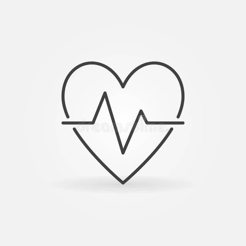 Icono del esquema del golpe de corazón - vector la muestra del concepto del pulso del latido del corazón stock de ilustración