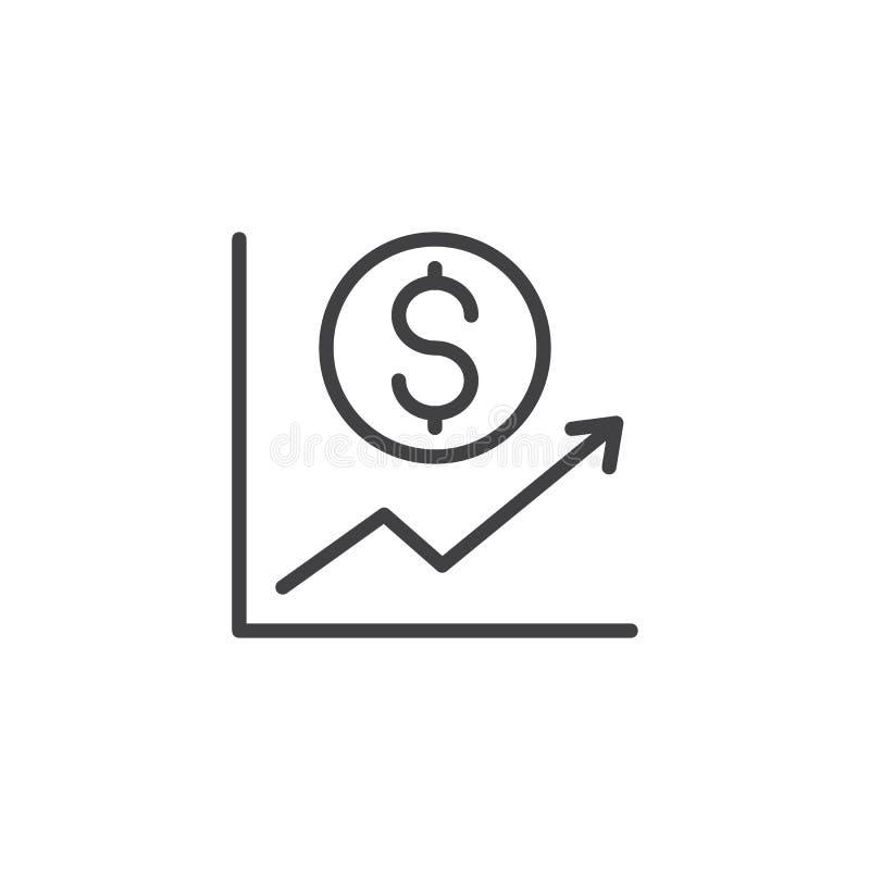 Icono del esquema del gráfico del aumento de la moneda del dólar stock de ilustración