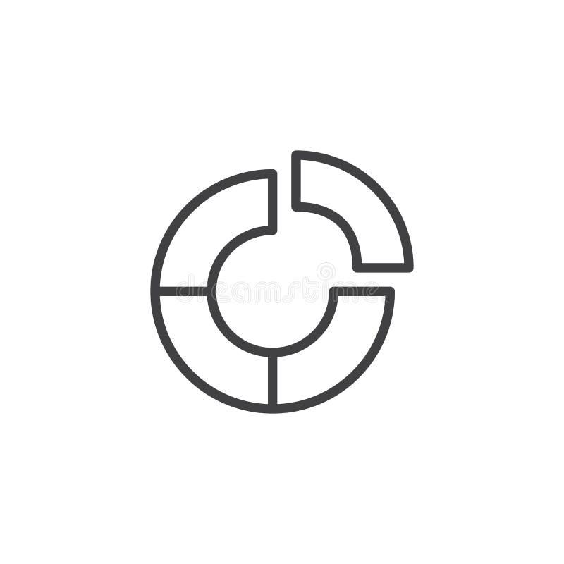 Icono del esquema del gráfico de sectores stock de ilustración