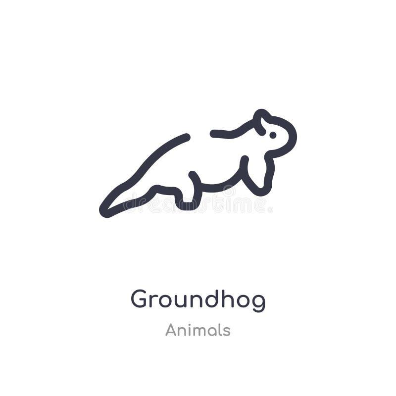 icono del esquema del groundhog l?nea aislada ejemplo del vector de la colecci?n de los animales icono fino editable del groundho ilustración del vector