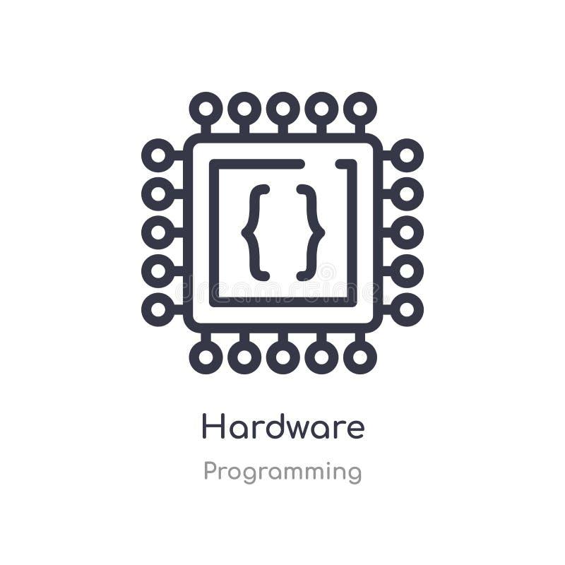 icono del esquema del hardware l?nea aislada ejemplo del vector de la colecci?n programada icono fino editable del hardware del m libre illustration