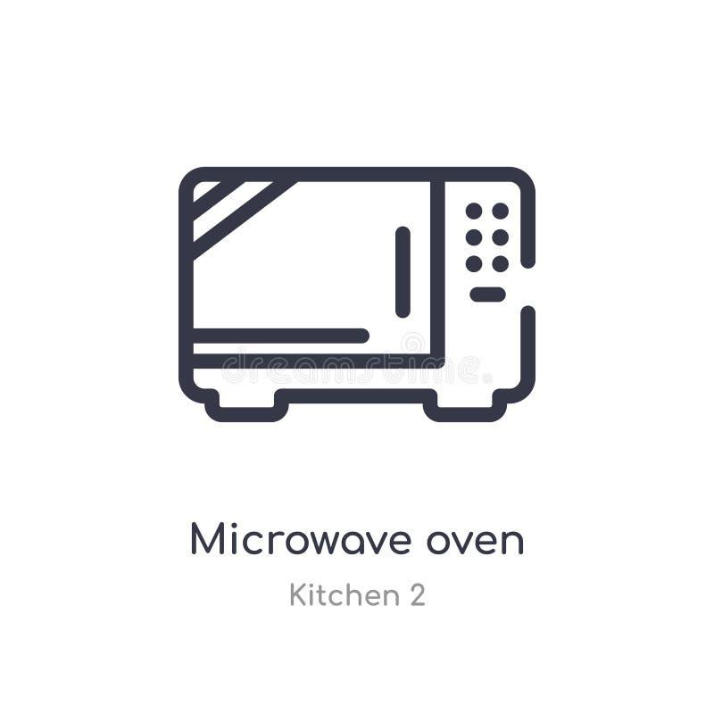 Icono del esquema del horno de microondas l?nea aislada ejemplo del vector de la colecci?n de la cocina 2 icono fino editable del ilustración del vector