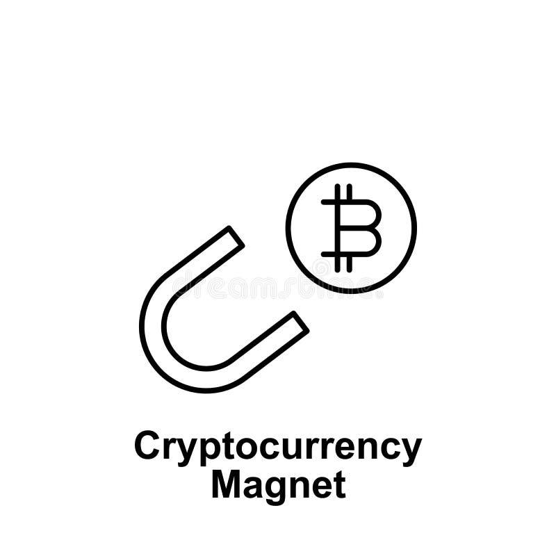 Icono del esquema del imán de Bitcoin Elemento de los iconos del ejemplo del bitcoin Las muestras y los símbolos se pueden utiliz ilustración del vector