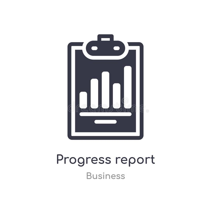 icono del esquema del informe sobre los progresos l?nea aislada ejemplo del vector de la colecci?n del negocio informe sobre los  stock de ilustración