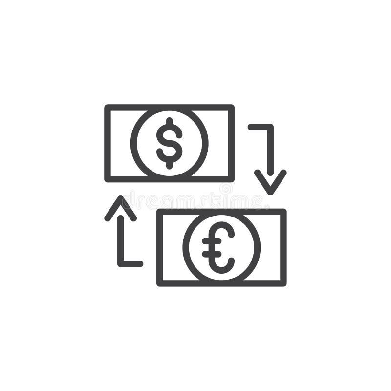 Icono del esquema del intercambio del dólar y del euro stock de ilustración
