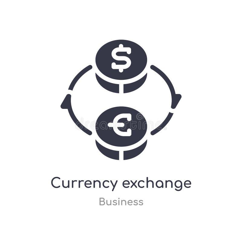 Icono del esquema del intercambio de moneda l?nea aislada ejemplo del vector de la colecci?n del negocio intercambio de moneda fi ilustración del vector