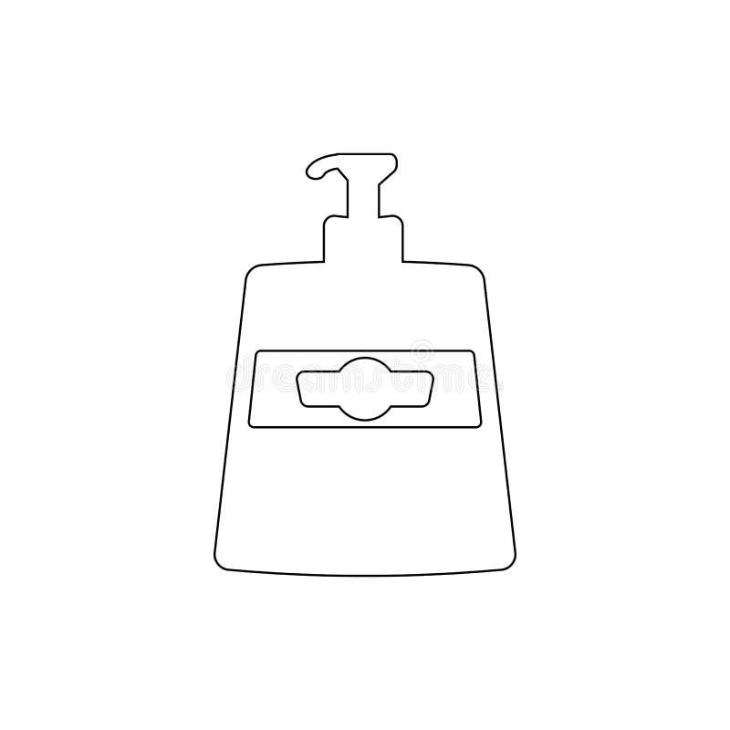 Icono del esquema del jab?n l?quido Icono del cuarto de ba?o y del elemento de la sauna Dise?o gr?fico de la calidad superior Mue stock de ilustración