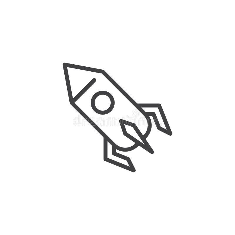 Icono del esquema del lanzamiento de Rocket ilustración del vector