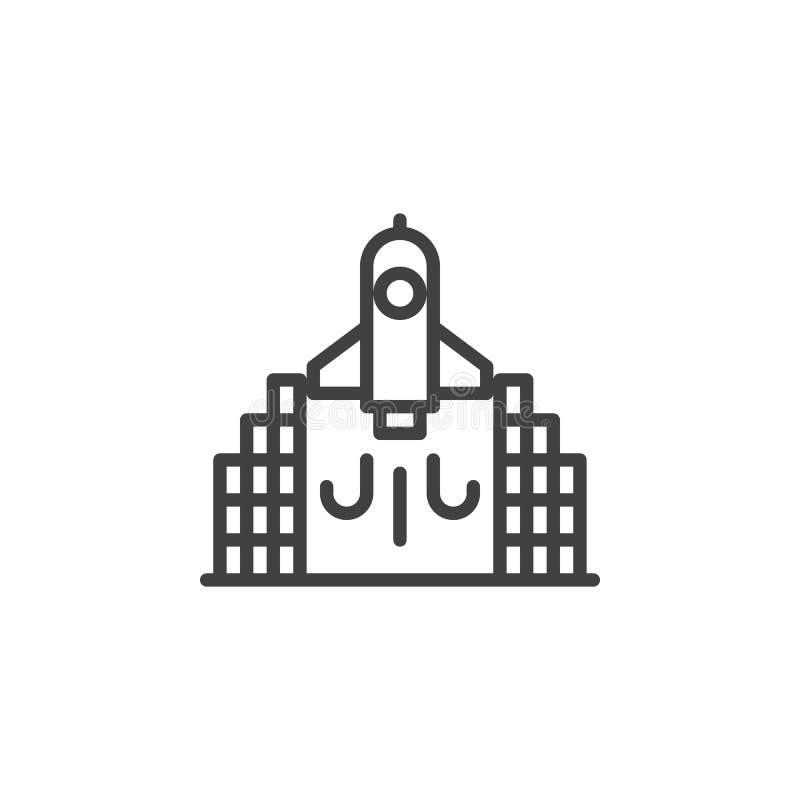 Icono del esquema del lanzamiento de Rocket libre illustration