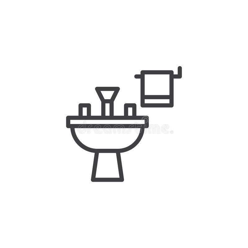 Icono del esquema del lavabo ilustración del vector