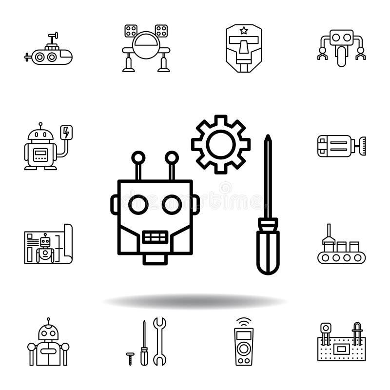 Icono del esquema del mantenimiento de la rob?tica fije de iconos del ejemplo de la robótica las muestras, símbolos se pueden uti ilustración del vector