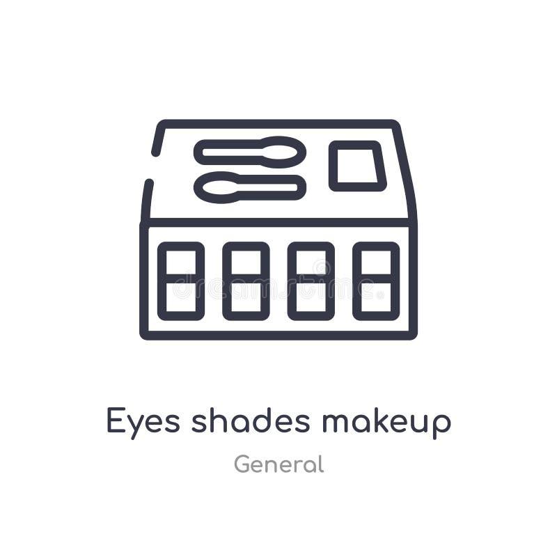 icono del esquema del maquillaje de las sombras de los ojos línea aislada ejemplo del vector de la colección general sombras fina stock de ilustración