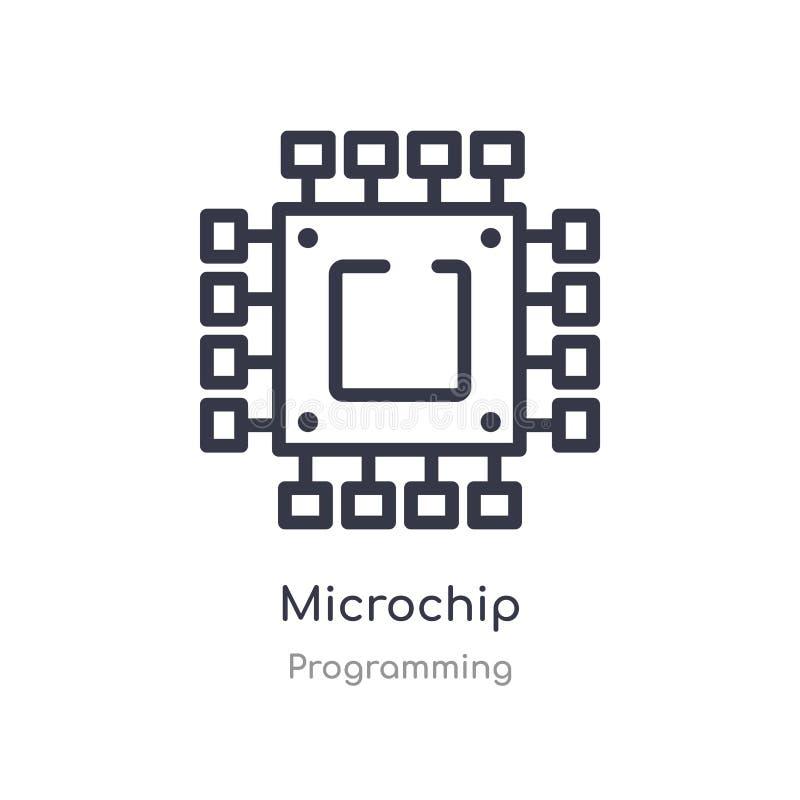 icono del esquema del microchip l?nea aislada ejemplo del vector de la colecci?n programada icono fino editable del microchip del ilustración del vector