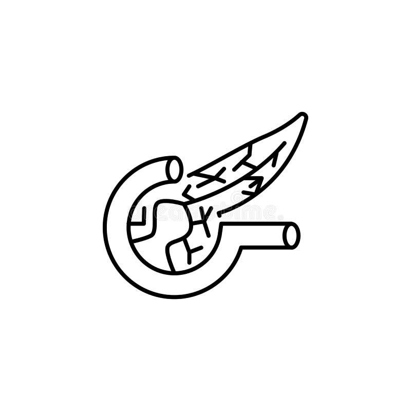 Icono del esquema del páncreas del órgano humano Las muestras y los símbolos se pueden utilizar para la web, logotipo, app móvil, ilustración del vector