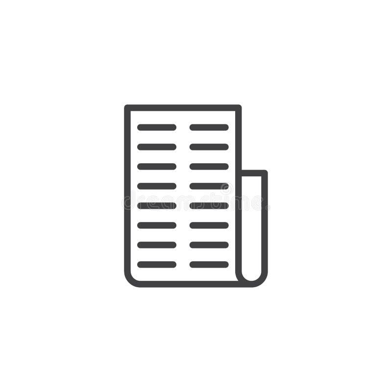 Icono del esquema del papel de la factura ilustración del vector