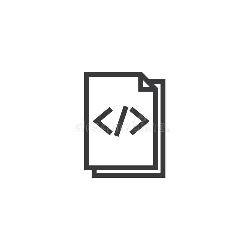 Icono del esquema del papel del documento del HTML icono aislado del papel de nota en la línea estilo fina para el gráfico y el d ilustración del vector
