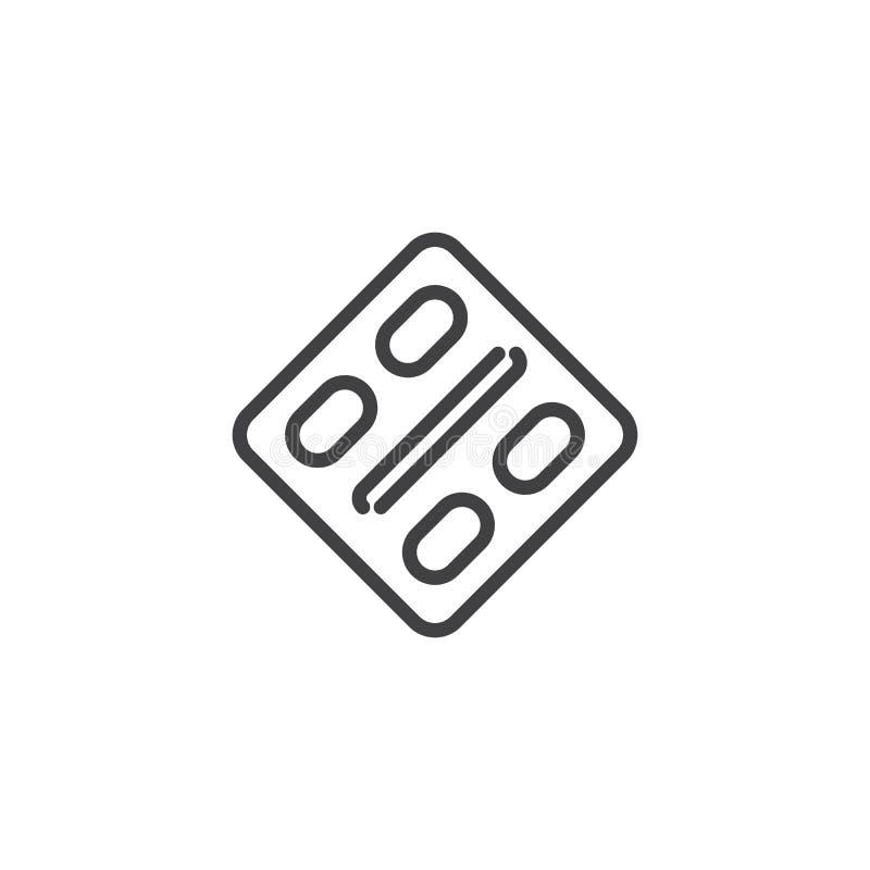 Icono del esquema del paquete de ampolla de la cápsula ilustración del vector
