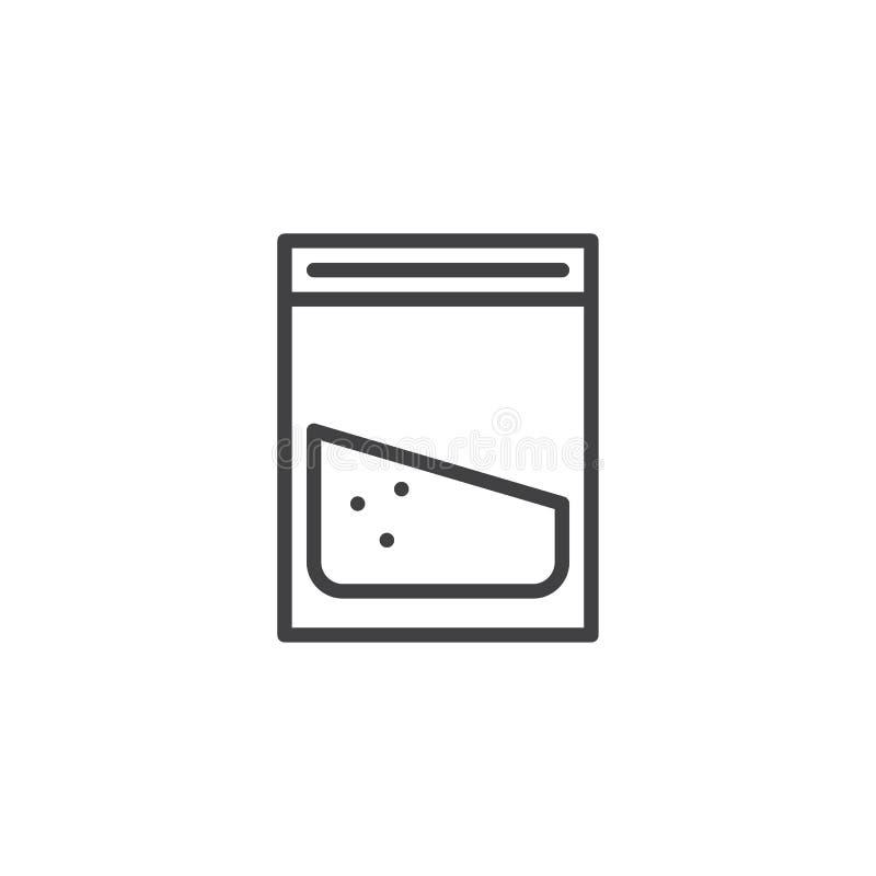 Icono del esquema del paquete de la cocaína stock de ilustración