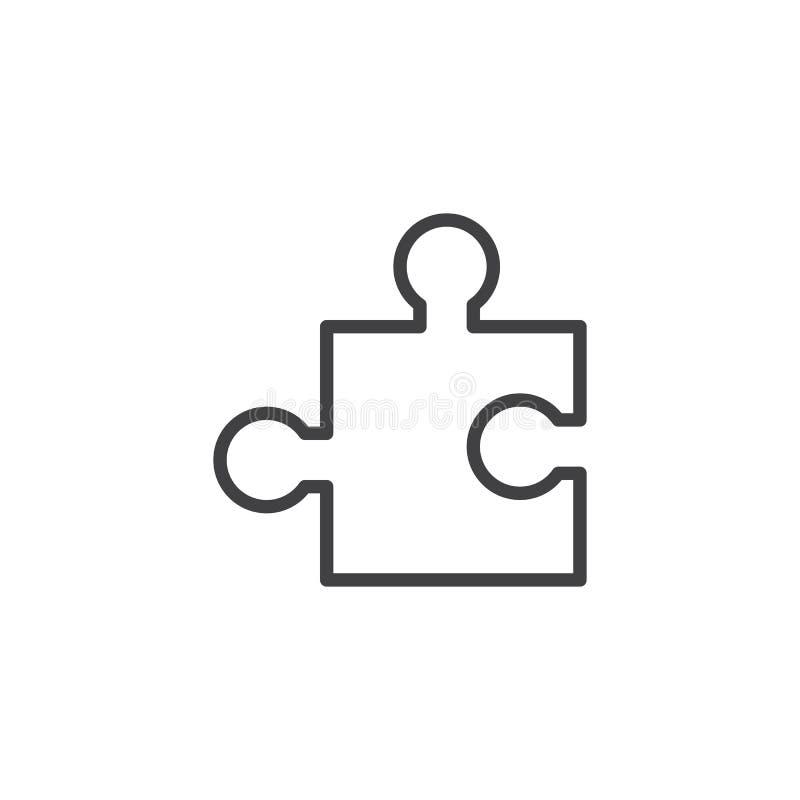 icono del esquema del pedazo del rompecabezas stock de ilustración