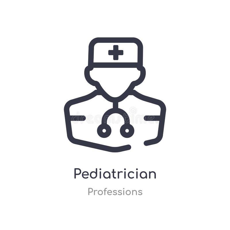icono del esquema del pediatra l?nea aislada ejemplo del vector de la colecci?n de las profesiones icono fino editable del pediat stock de ilustración