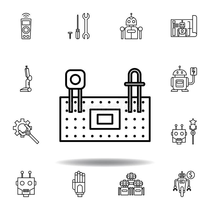 Icono del esquema del protoboard de la rob?tica fije de iconos del ejemplo de la robótica las muestras, símbolos se pueden utiliz libre illustration