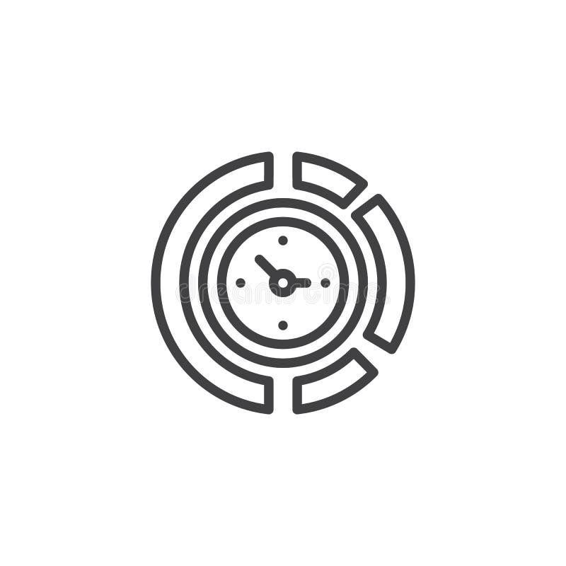 Icono del esquema del reloj del diagrama stock de ilustración