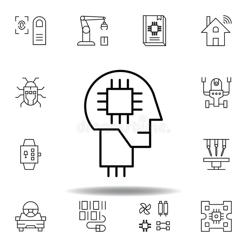 Icono del esquema del robot de la mente humana de la rob?tica fije de iconos del ejemplo de la robótica las muestras, símbolos se ilustración del vector