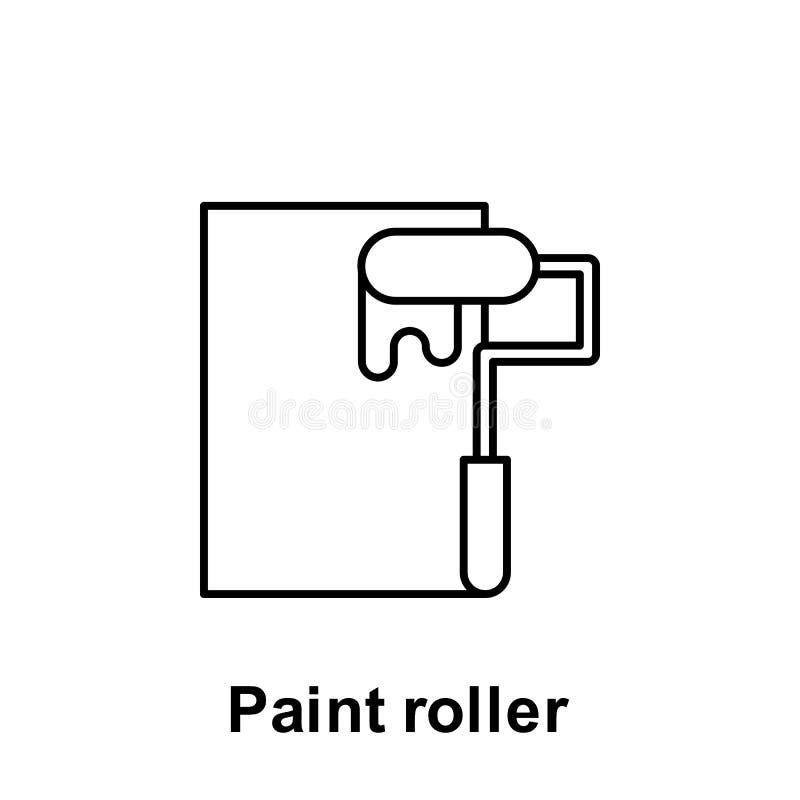 Icono del esquema del rodillo de pintura Elemento del icono del ejemplo del Día del Trabajo Las muestras y los símbolos se pueden ilustración del vector