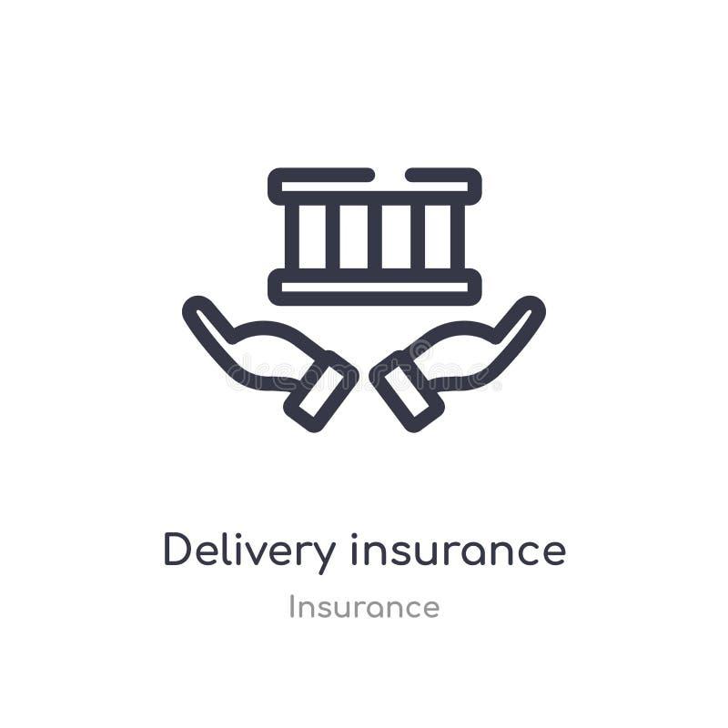 icono del esquema del seguro de la entrega l?nea aislada ejemplo del vector de la colecci?n del seguro entrega fina editable del  stock de ilustración