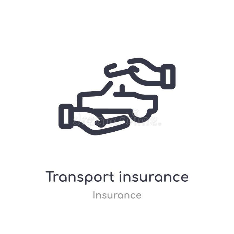 icono del esquema del seguro del transporte l?nea aislada ejemplo del vector de la colecci?n del seguro transporte fino editable  stock de ilustración