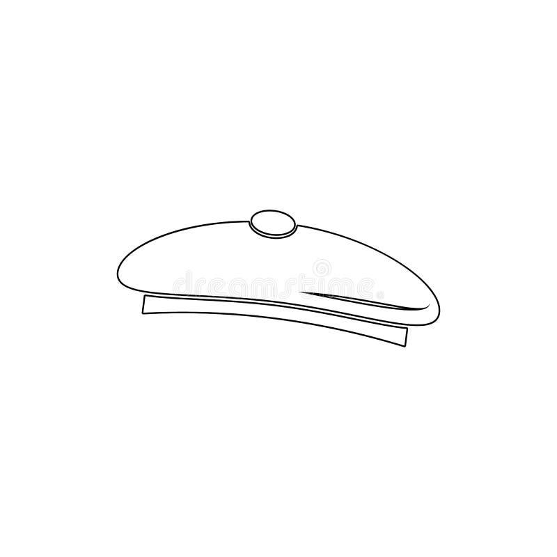 icono del esquema del sombrero del artista S?mbolo del sombrero de los pintores Las muestras y los s?mbolos se pueden utilizar pa stock de ilustración