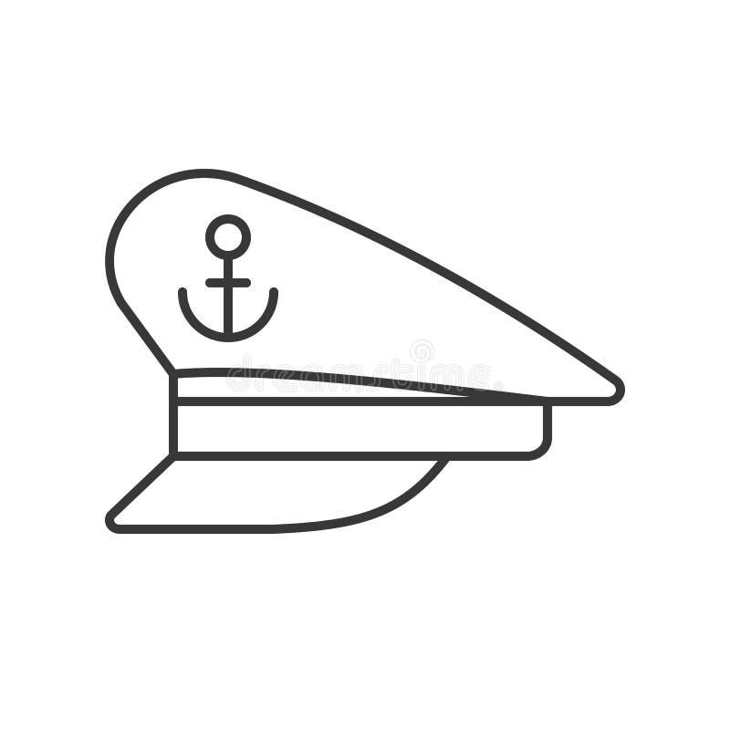 Icono del esquema del sombrero del capitán en el fondo blanco ilustración del vector