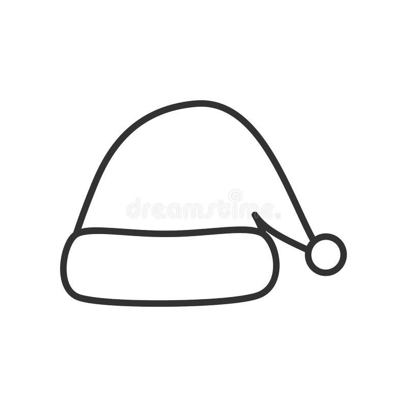 Icono del esquema del sombrero del ` s de Papá Noel de la Navidad en blanco stock de ilustración