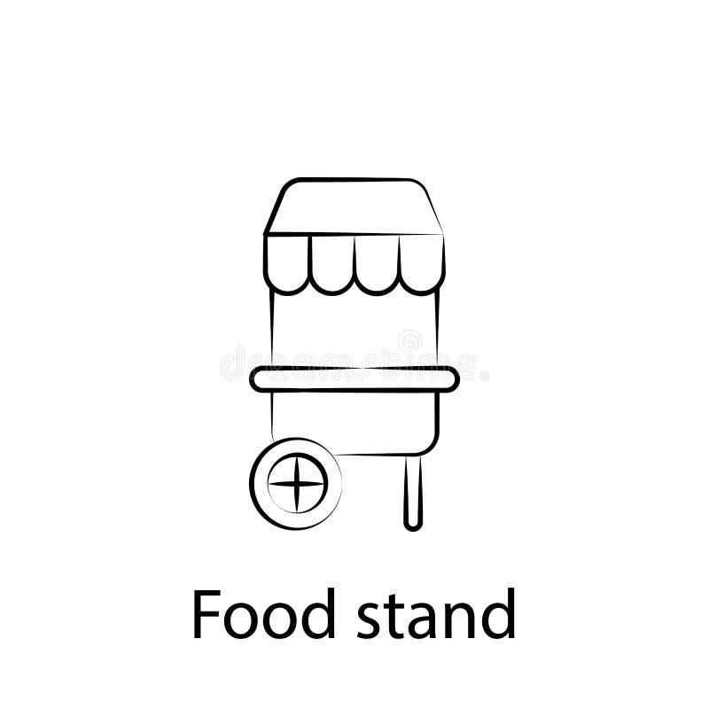 Icono del esquema del soporte de los alimentos de preparaci?n r?pida Elemento del icono del ejemplo de la comida Las muestras y l stock de ilustración