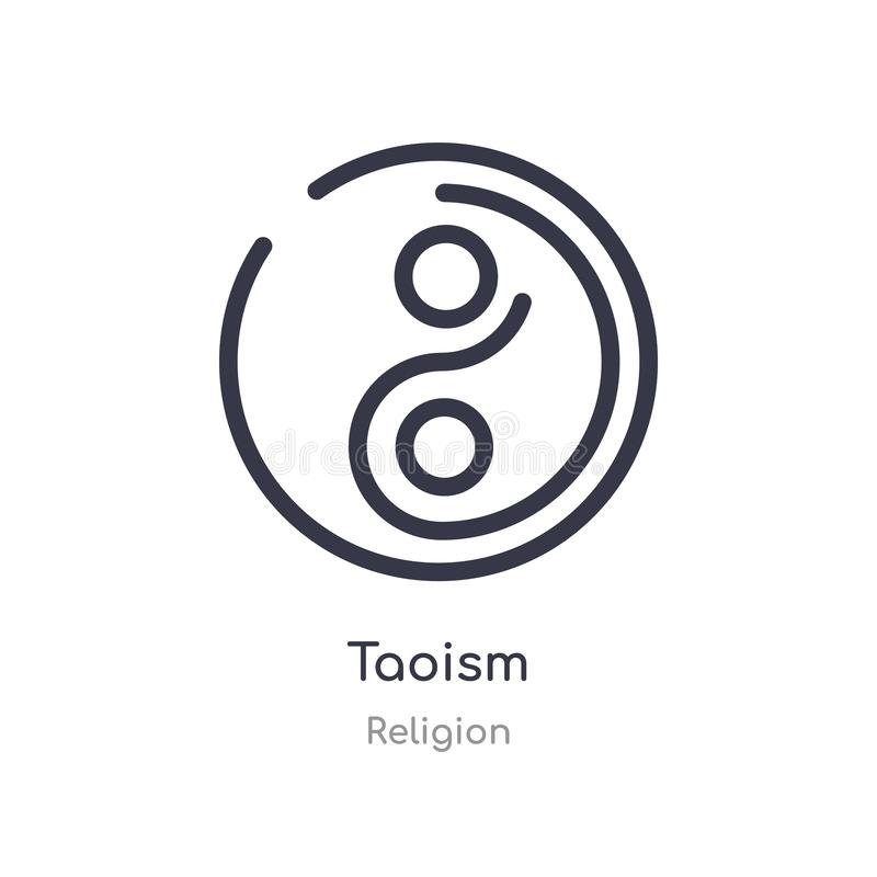 icono del esquema del taoism l?nea aislada ejemplo del vector de la colecci?n de la religi?n icono fino editable del taoism del m libre illustration