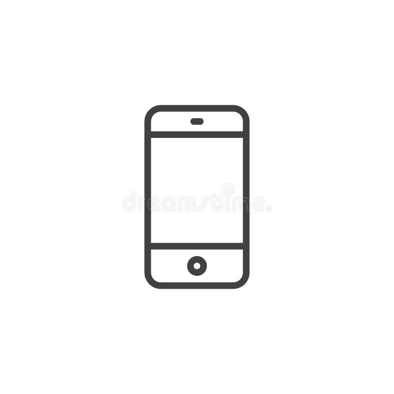 Icono del esquema del teléfono móvil stock de ilustración