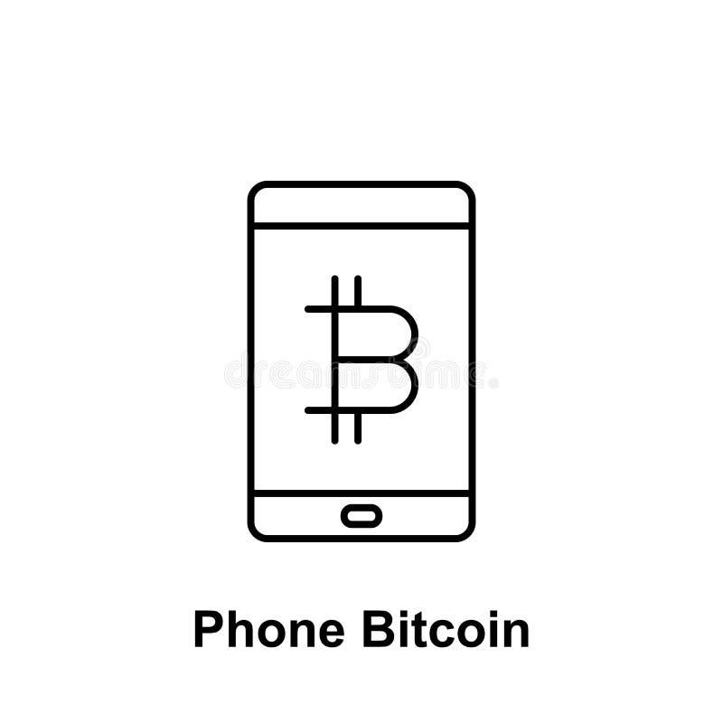 Icono del esquema del teléfono móvil de Bitcoin Elemento de los iconos del ejemplo del bitcoin r stock de ilustración