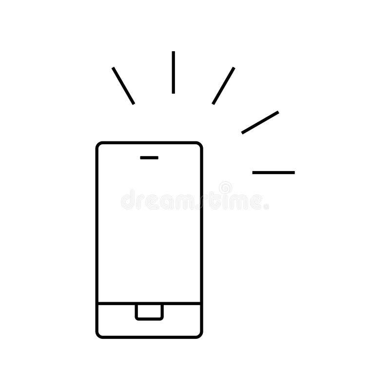 Icono del esquema del tel?fono m?vil Muestra de Smartphone Vector eps10 del icono de la llamada del contacto del teléfono móvil stock de ilustración