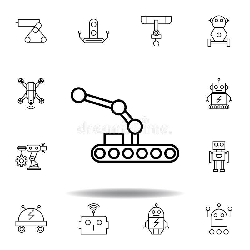 Icono del esquema del transportador del robot de la rob?tica fije de iconos del ejemplo de la robótica las muestras, símbolos se  stock de ilustración