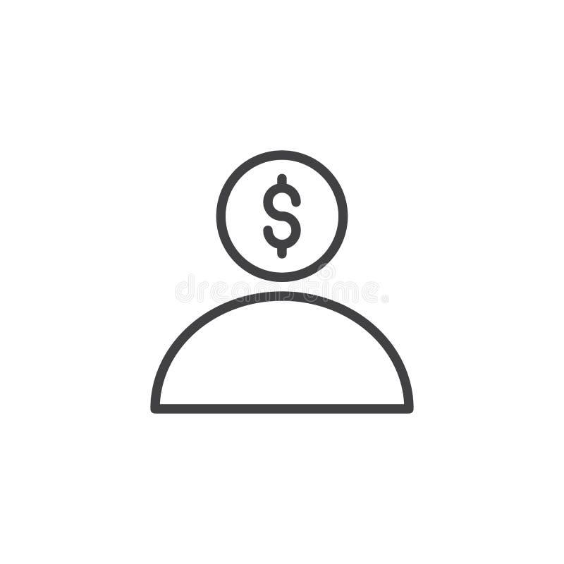 Icono del esquema del usuario del dólar libre illustration