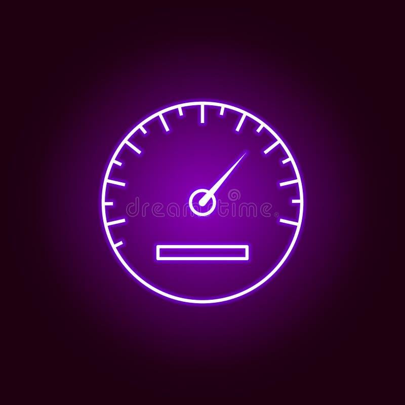 icono del esquema del velocímetro en el estilo de neón Elementos del ejemplo de la reparación del coche en el icono de neón del e stock de ilustración