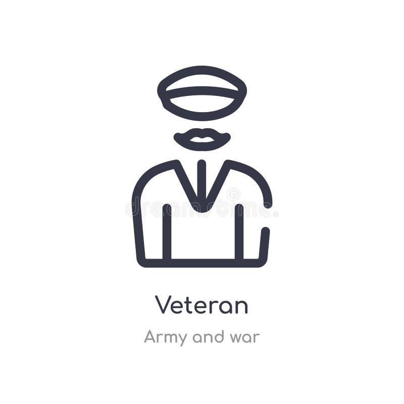 icono del esquema del veterano l?nea aislada ejemplo del vector de la colecci?n del ej?rcito y de la guerra icono fino editable d libre illustration