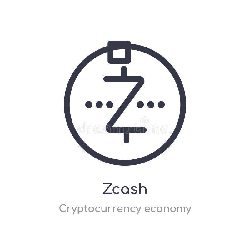 icono del esquema del zcash l?nea aislada ejemplo del vector de la colecci?n de la econom?a del cryptocurrency icono fino editabl ilustración del vector