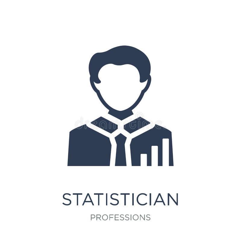 Icono del estadístico Icono plano de moda del estadístico del vector en blanco stock de ilustración