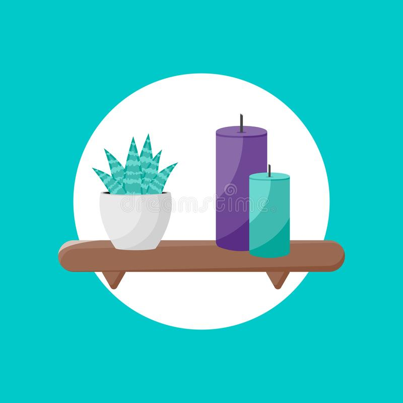 Icono del estante con la planta y las velas de icono libre illustration