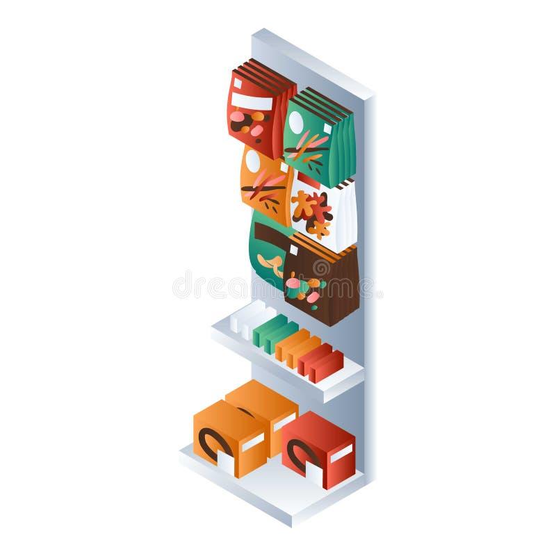 Icono del estante del mercado del bocado, estilo isométrico libre illustration