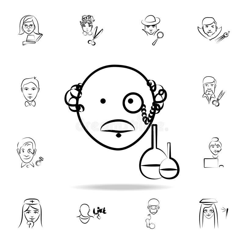 icono del estilo del bosquejo del avatar del científico Sistema detallado de la profesión en iconos del estilo del bosquejo Diseñ libre illustration