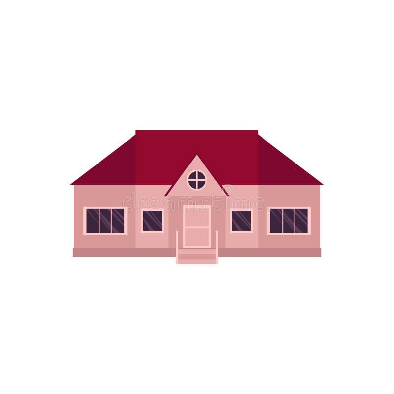 Icono del estilo de la historieta de la casa de un piso, hogar stock de ilustración