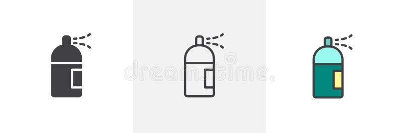 Icono del estilo de la poder de espray diverso stock de ilustración